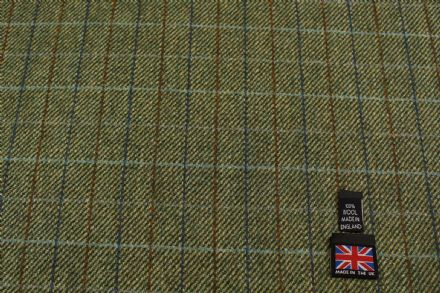 100% Pure New Wool Small Windowpane Check Tweed Fabric BZ44